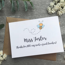 Load image into Gallery viewer, Personalised Bee Teacher Card-9-The Persnickety Co