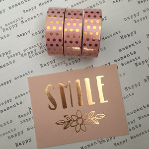 Gold Foil Polka Dot Washi Tape - Pink-3-The Persnickety Co