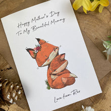 Load image into Gallery viewer, Fox Mother's Day Personalised Card-4-The Persnickety Co
