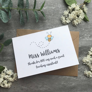 Personalised Bee Teacher Card-3-The Persnickety Co