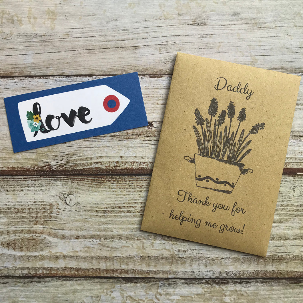 Daddy/ Grandad Thank You For Helping Me Grow! Mini Kraft Envelope with Wildflower Seeds-The Persnickety Co