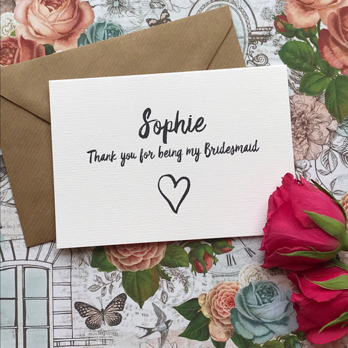 Personalised Thank You For Being My Bridesmaid-The Persnickety Co