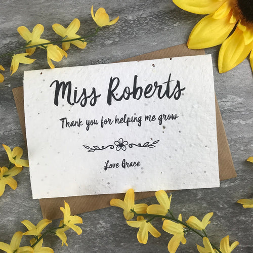 Personalised Teacher Card Thank You For Helping Me Grow-The Persnickety Co