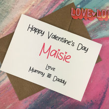 Load image into Gallery viewer, Personalised Happy Valentine's Day From Mummy And Daddy Card-6-The Persnickety Co