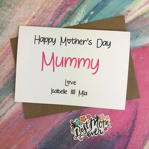 Happy Mother's Day Mummy/Mum/Mom/Mam Personalised Card-2-The Persnickety Co