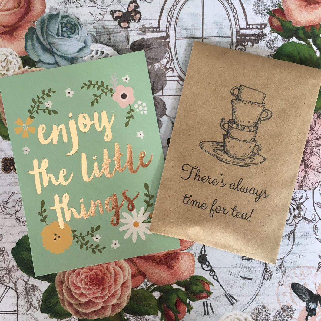 There's Always Time For Tea Mini Kraft Envelope with Tea Bag-The Persnickety Co