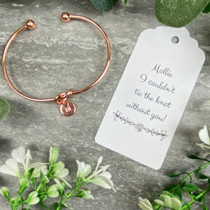 Wedding Knot Bangle With Initial Charm in Rose Gold-8-The Persnickety Co