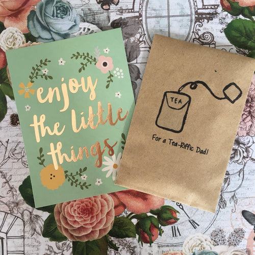 For A Tea-Riffic Dad Mini Kraft Envelope with Tea Bag-The Persnickety Co
