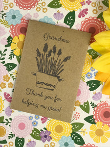 Grandma Thank You For Helping Me Grow Mini Kraft Envelope with Wildflower Seeds-3-The Persnickety Co