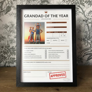 Grandad of The Year Framed Application Form-The Persnickety Co