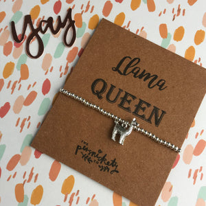 Llama Queen Beaded Charm Bracelet-3-The Persnickety Co