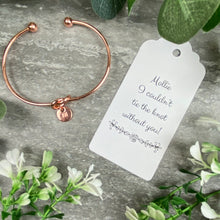 Load image into Gallery viewer, Wedding Knot Bangle With Initial Charm in Rose Gold-4-The Persnickety Co