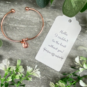 Wedding Knot Bangle With Initial Charm in Rose Gold-4-The Persnickety Co