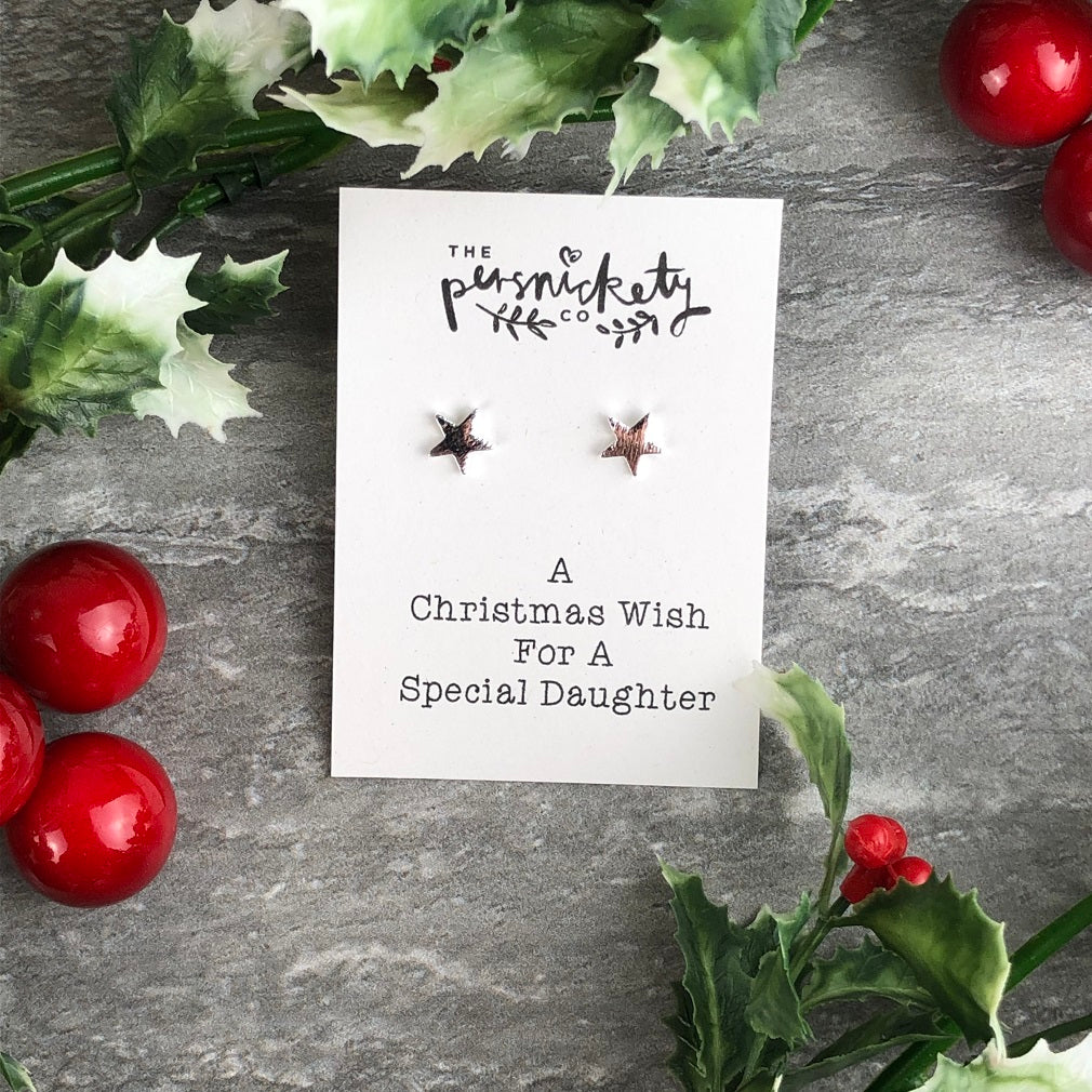 A Christmas Wish For A Special Daughter - Star Earrings-The Persnickety Co