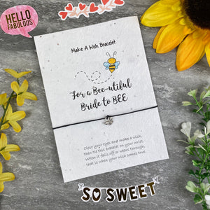Bride To Bee Wish Bracelet On Plantable Seed Card-The Persnickety Co