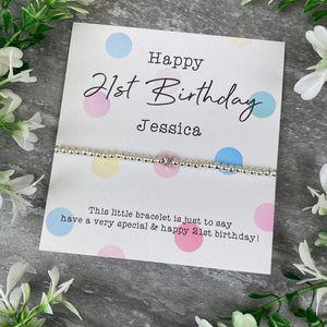 Happy 21st Birthday Beaded Bracelet-The Persnickety Co