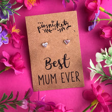 Load image into Gallery viewer, Best Mum Ever - Heart Earrings - Gold / Rose Gold / Silver-4-The Persnickety Co