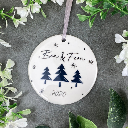 Personalised Couples Christmas Hanging Decoration-The Persnickety Co