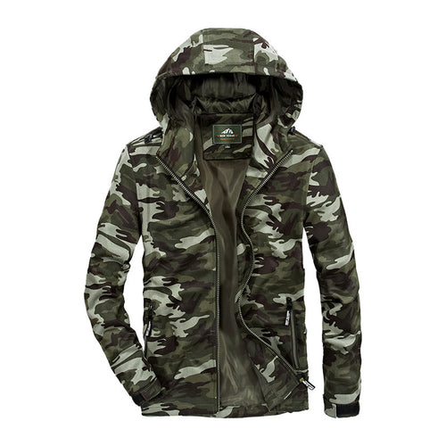 Loose Cap Camouflage Stitching Men's Jacket
