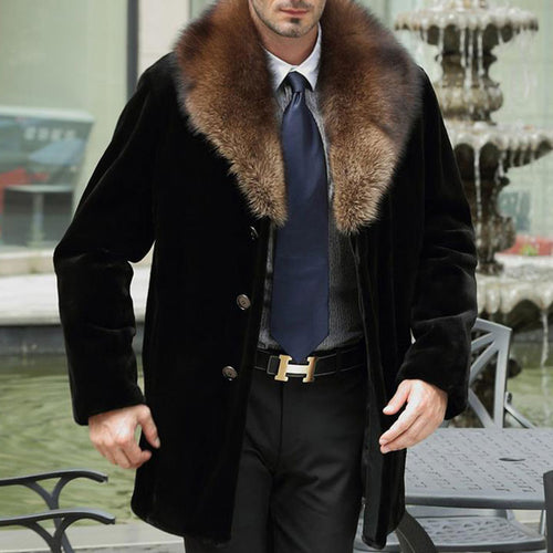 Plus Size Long Mink Imitation Mink Hair Men's Trench Coat