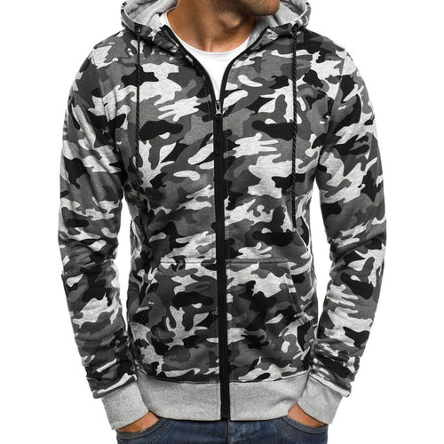 Hooded Zippered Long Sleeve Camouflage Men's Sweatshirt