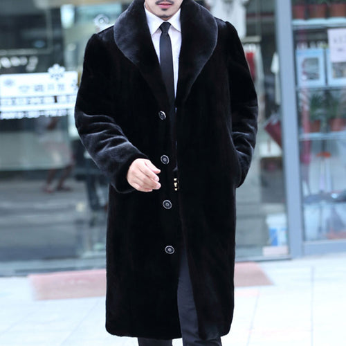 Warm Imitation Mink Hair Men's Trench Coat