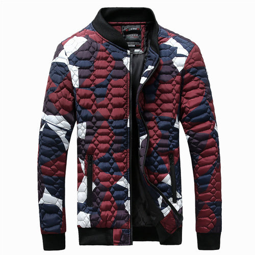 Plus Size Contrast Color Camouflage Pocket Men's Down Coat
