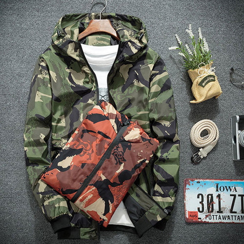 Hooded Zip-up Camouflage Long Sleeve Men's Coat