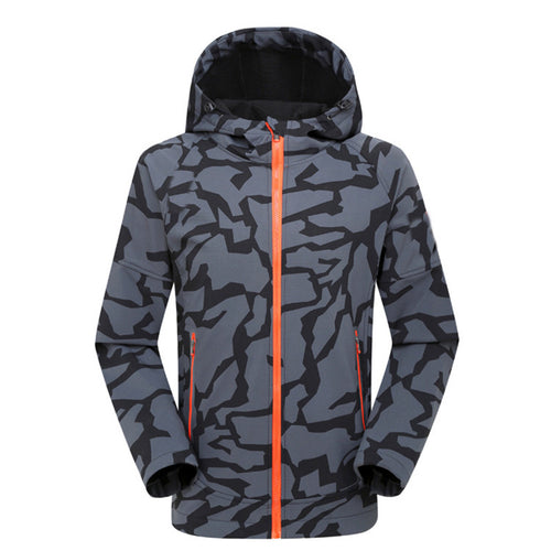 Camouflage Furry Soft Shell Thickening Men's Jacket