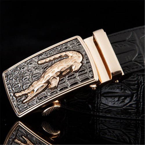 Automatic Buckler Leather Alligator Belt