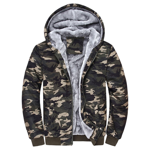 Camouflage Hooded Zipper Pocket Men's Sweatshirt