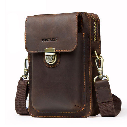 Retro Solid Color Breathable Men's Crossbody Bags