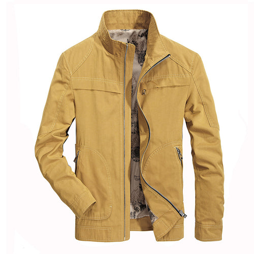 Pure Color Leisure Collar Men's Jacket
