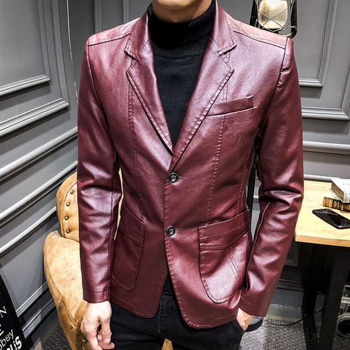 Plain Plain Lapel PU Long Sleeve Men's Leather Coat