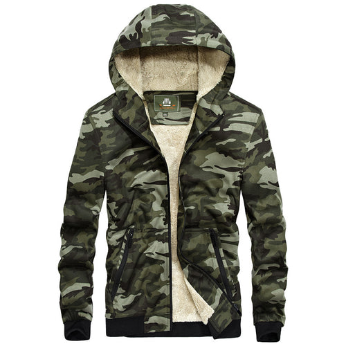 Camouflage With Velvet Windproof Men's Coat