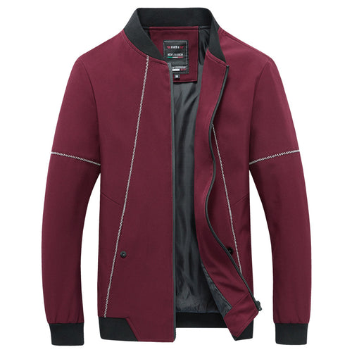 Simple Recreation Stand Collar Men's Jacket