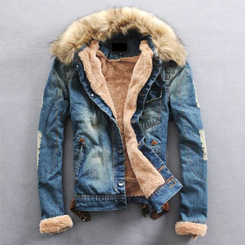 Plus Size Thickened Fur Collar Men's Jacket