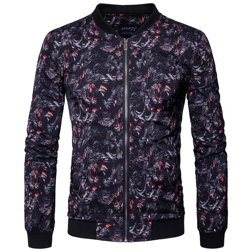 Animal Printed Collar Zippered Men's Coat