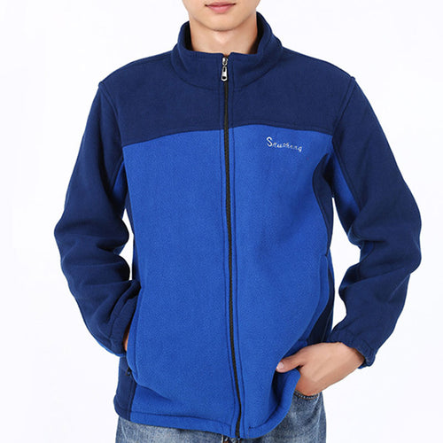 Color Block Stand Collar Polar Fleece Men's Jackets Coat