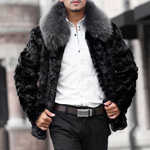 Long Sleeve Fur Collar Casual Men's Coat