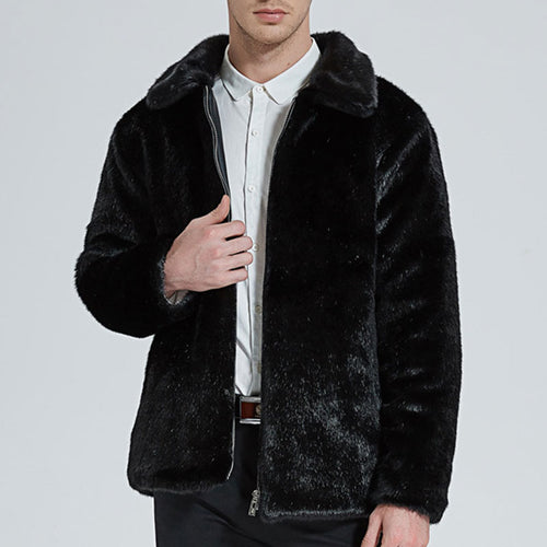 Loose Fur Collar Imitation Mink Hair Men's Coat