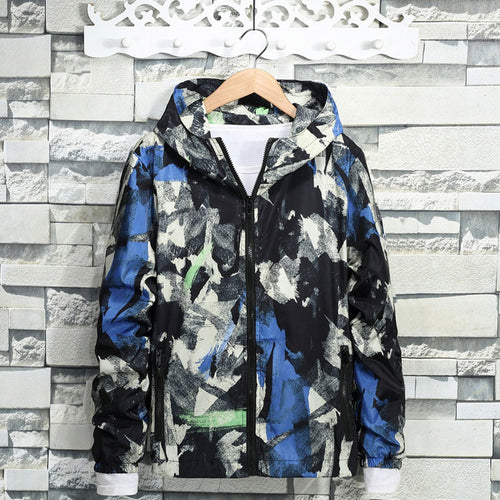Camouflage Zippered Long Sleeve Hooded Men's Coat