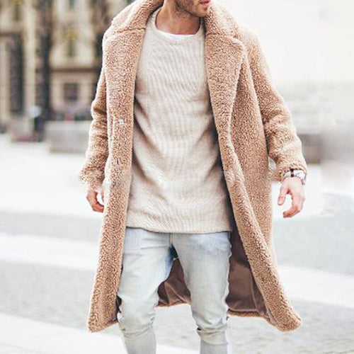 Plush Loose Lapel Men's Trench Coats