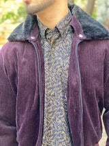retro burgundy corduroy bomber jacket with fur lapel