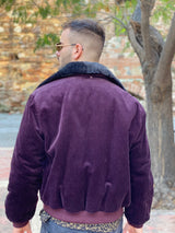 Vintage 80s Corduroy Burgundy Bomber Jacket back side