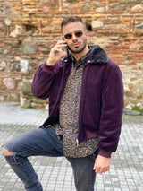 Unique 80s style burgundy corduroy jacket