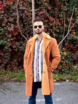 Man wearing a 80s fashion vintage coat