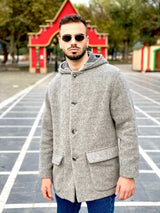 90s fashion casual wool gray coat