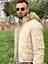 90s fashion beige bomber jacket for men