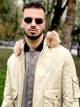 Vintage style beige bomber jacket for men